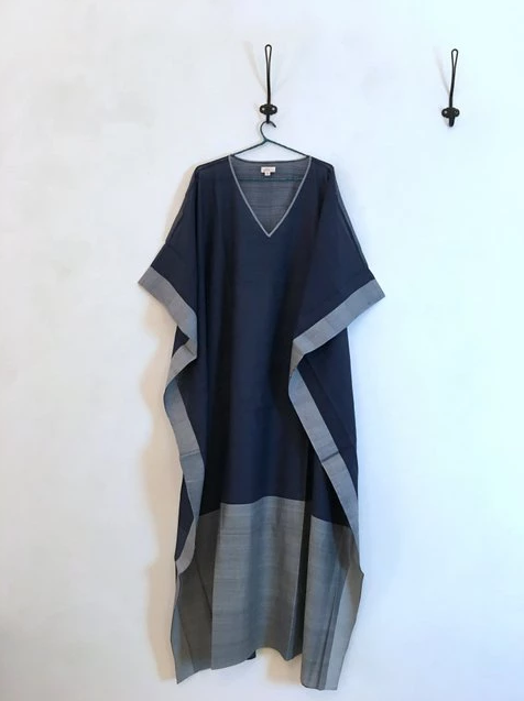 Blue and Navy with Handloom Cotton Kaftan hanging on hanger
