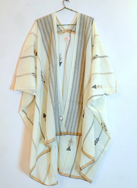 Jamdani Natural Dye Dune Robe hanging on a hanger